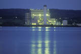 A Factory on the Hudson River in New York at Night Photographic Print