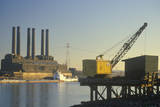 A Utility Plant and Grain Barge on the Mississippi River in East St. Louis, Missouri Photographic Print