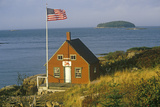 Red Lobster Shack Overlooking the Ocean with American Flag Flying in Maine Photographic Print