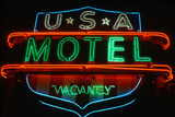 Neon Sign for U.S.A. Motel Advertising Vacancy in Hartford, Connecticut Photographic Print