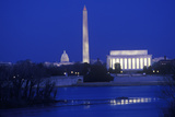 Lincoln and Washington Monuments and U.S. Capitol, Washington D.C. from Arlington, Virginia at Dusk Photographic Print