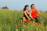 Couple Resting During Bicycle Ride Photographic Print