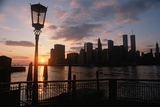 View of Manhattan from the Brooklyn Bridge at Sunset, New York City, New York Photographic Print