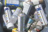 Pile of Aerosol CAns Waiting for Safe Disposal at a Unocal Station in Los Angeles, CA Photographic Print