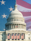Digital Collage of U.S. Capitol and American Flag Photographic Print
