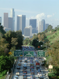 Morning Rush Hour Traffic on Pasadena Freeway into Downtown Los Angeles, California Photographic Print