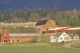 A Farm in Northeast Wa with Trees and Mountains in the Background Photographic Print