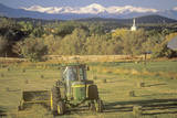 Farm Machinery Mowing in Field, CO Photographic Print
