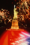 Statue of Liberty on 4th of July with Fireworks and an American Flag Photographic Print