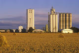 Late Afternoon View of Grain Silos in Hay Field, Kansas Photographic Print