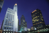 Downtown Chicago at Night, the Loop with Chicago River, Chicago, Illinois Photographic Print