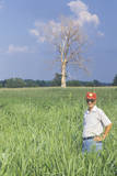 Farmer Standing in Soybean Field During Worst Drought in Recorded History Photographic Print