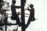 Two Telephone Repairmen Working on Pole in Ojai, California Photographic Print