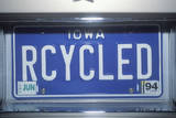 "A Vanity License Plate Reads ""Recycled"" Photographic Print"