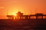 Silhouetted Fishermen on Venice Pier at Sunset, California Photographic Print