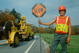 Road Crewman Holding Traffic Control Sign Photographic Print