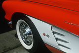 Detail of Front End of 1957 Red and White Corvette in Los Angeles, California Photographic Print