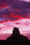 Silhouette Indian Ruins at Sunset, Chaco Canyon, New Mexico Photographic Print