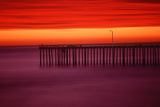 Morro Bay Pier with Brilliant Red Sky at Sunset, California Photographic Print