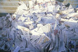 A Pile of Newspaper Waiting for Recycling in a Bin at the Santa Monica Community Center, CA Photographic Print