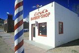 Lloyd's Barber Shop with Barber Pole in Foreground, Lyons, Colorado Photographic Print