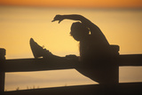 Silhouetted Runner Stretches on a Fence, Santa Monica, California Photographic Print