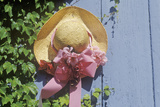 Decorated Straw Hat Nailed onto a Door Photographic Print