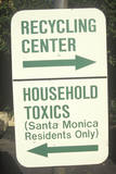 A Green Street Sign Designating Recycling Areas at the Santa Monica Community Center Photographic Print