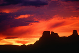 Silhouetted Indian Ruins, Chaco Canyon at Sunset, New Mexico Photographic Print