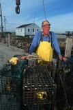 Smiling Fisherman with Lobster Traps, Sakonnet, Rhode Island Fotografie-Druck