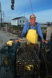 Smiling Fisherman with Lobster Traps, Sakonnet, Rhode Island Photographic Print