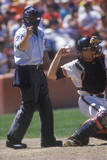 Close-Up of Umpire and Pitcher During Professional Baseball Game, Dodger Stadium, Los Angeles, CA Photographic Print