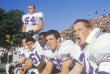 Group of College Football Players Observing Game from the Bench, West Point, NY Photographic Print