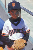 Young Baseball Fan with Giants Jersey Posing at CAndlestick Park, San Francisco, CA Photographic Print