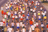 View from Behind of Group of Runners in Los Angeles Marathon, Los Angeles, CA Photographic Print