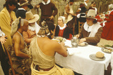 Living History Reenactment of Pilgrims and Indians Dining on Plymouth Plantation, Plymouth, MA Photographic Print