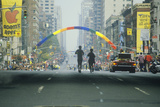Pair of Runners in Ny City Marathon, 1st Avenue and 59th Street Bridge Photographic Print