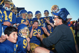 Coach Giving Youth Football Team a Pep Talk in Connecticut Photographic Print
