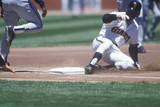 Professional Baseball Player Sliding into Base During Game, CAndlestick Park, San Francisco, CA Photographic Print
