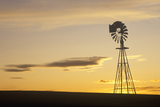 Silhouetted Wooden Windmill at Sunset, South Dakota Photographic Print