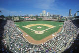 Fisheye View of Crowd and Diamond During a Professional Baseball Game, Wrigley Field, Illinois Photographic Print