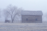Historical Museum at Fort Missoula, Mt in Fog Photographic Print