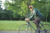 Senior Male Citizen Bicycling, Lake Erie, PA Papier Photo