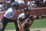 Major League Catcher and Umpire Behind Home Plate Photographic Print