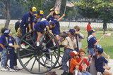 Cub Scouts Playing on Cannon, Veteran's National Cemetery, Los Angeles, California Photographic Print