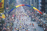 Crowd of Runners Crossing 1st Avenue/ 59th Street Bridge, Ny, Ny City Marathon Photographic Print