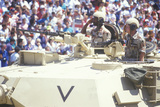 Two Soldiers Saluting Crowd from Tank, Desert Storm Victory Parade, Washington, D.C. Photographic Print