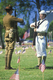Soldiers in Cemetery, Memorial Day, Los Angeles, California Photographic Print