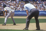 Professional Umpire Watching Baseball Game, Dodger Stadium, Los Angeles, CA Photographic Print