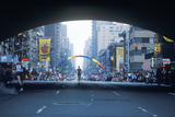 Silhouette of Runner in Ny City Marathon on 1st Avenue Photographic Print